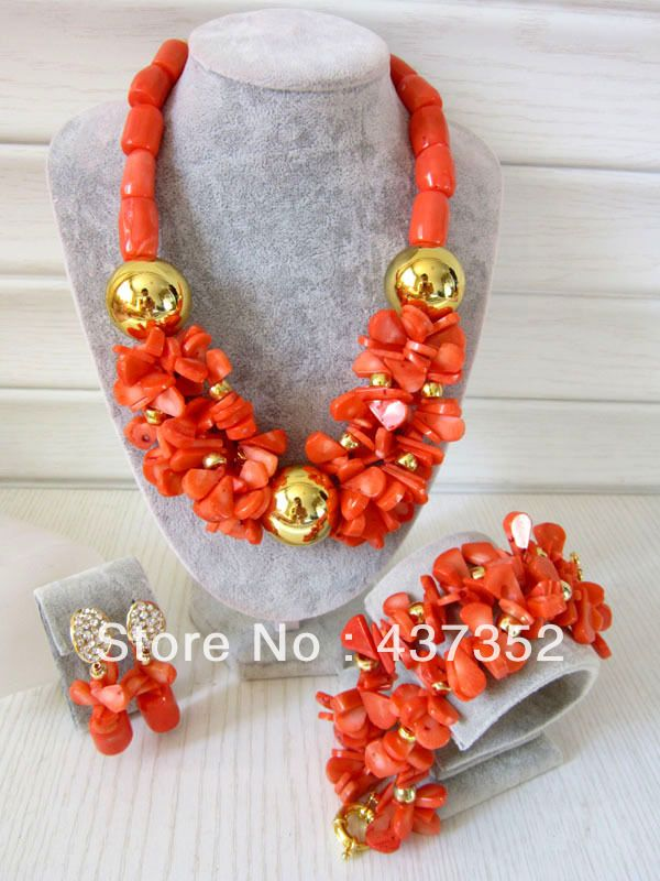 Marvelous African Nigerian Wedding Pink Coral Beads Jewelry Set Bridal Necklace Bracelet Clip Earrings CWS-121 $68.35