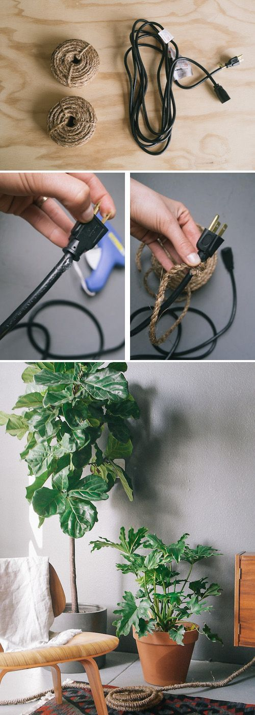 Wrap unsightly electronics cords with rope. | 51 Insanely Easy Ways To Transform Your Everyday Things