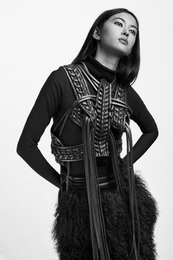 """Structured silhouettes in achromatic black is the trademark for Sarah Ryan's """"Fraterna"""" Graduate collection. Ryan, who attended  Limerick Sc..."""