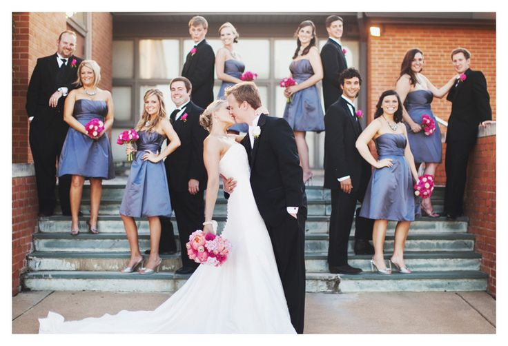 I like the different couple poses for wedding party instead of a straight line.