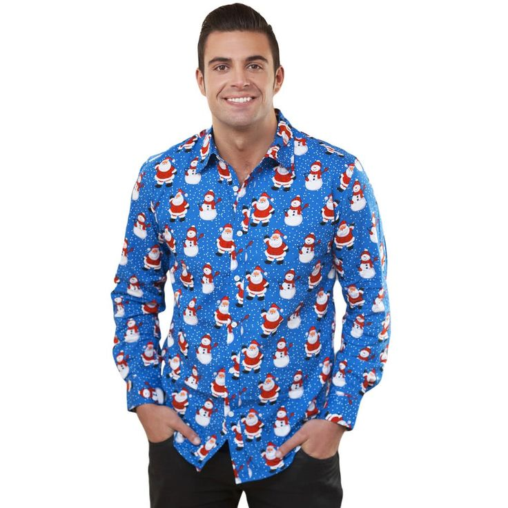 New Autumn Men Christmas Print Shirt Holiday Cartoon Long Sales Online blue xxl - Tomtop.com