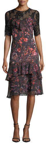 Rickie Freeman for Teri Jon Tiered Lace-Yoke Floral-Printed Midi Cocktail Dress #coctaildress #affiliate