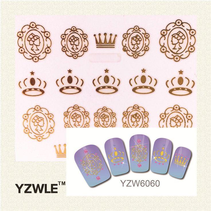 YZWLE 1 Pc Fashion 3D Golden Crown Pattern Nail Sticker Nail Gold Sticker