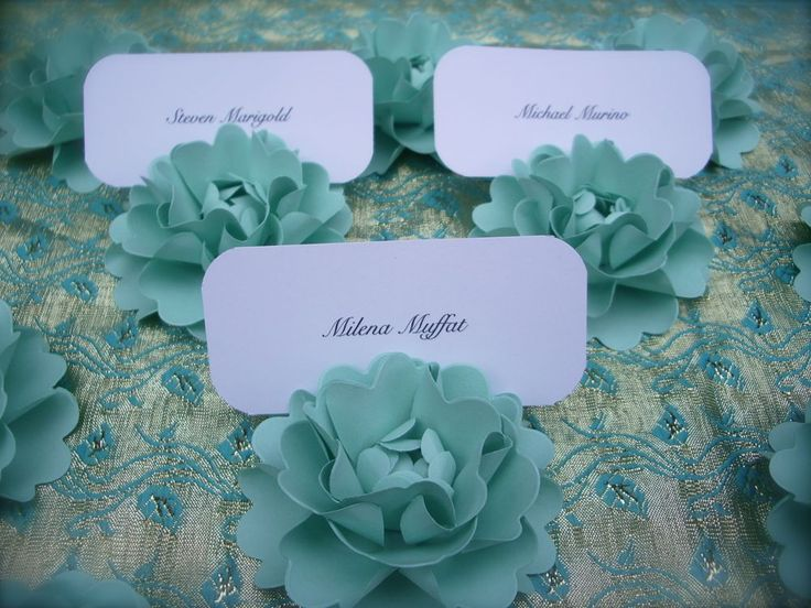 Blue Flower Place Card Holders 64
