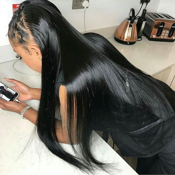 Gorgeous straight hair style with braiding on the frontal. So rock.