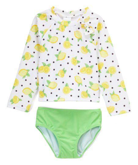 05479ae4be Sol Swim White & Yellow Polka Dot Lemons Rashguard Set - Infant, Toddler &  Girls | zulily