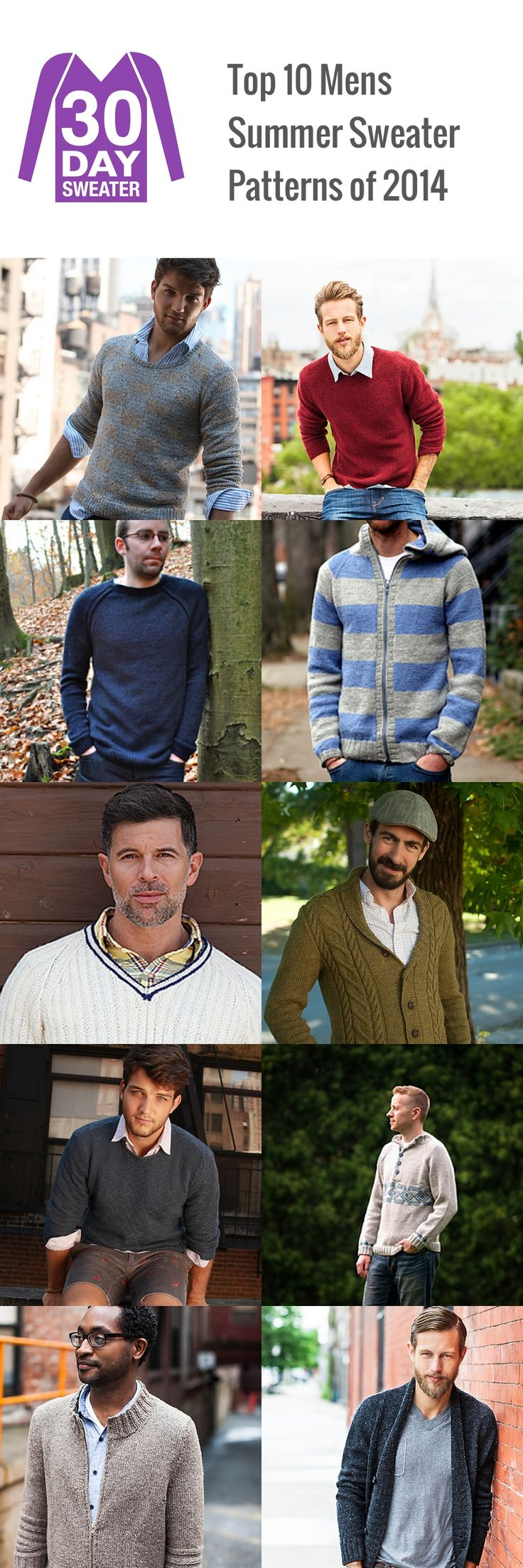 Top 10 Men's Summer Sweater Patterns of 2014 :: 30 Day Sweater--The first 3 patterns are free.