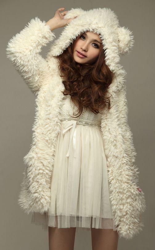 1c3730f7bc Kawaii Clothing Ropa Cute Coat Jacket Bear Ears White Fur Harajuku Abrigo  Korean  KawaiiClothing  BasicCoat