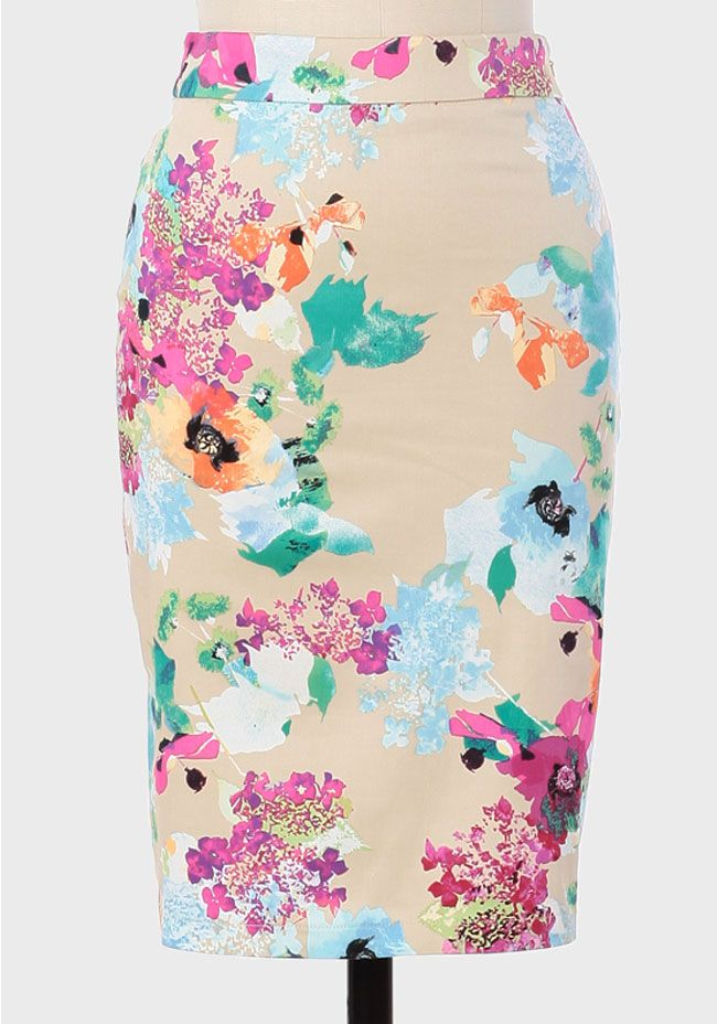 Canopy Floral Pencil Skirt: jade green blouse, powder blue cashmere, black for autumn, violet pink, beige pink blouse