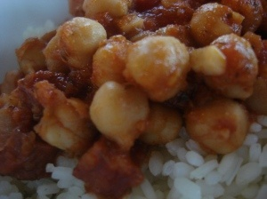 Garbanzos con chorizo - another bean and sausage dish, with Latin spicy-hot big flavor!