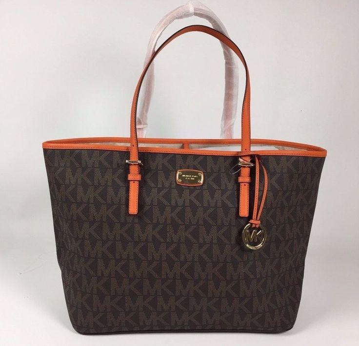 NWT Michael Kors Jet Set Brown Tangerine Carryall PVC Large Tote Bag $348.00 #MichaelKors #TotesShoppers