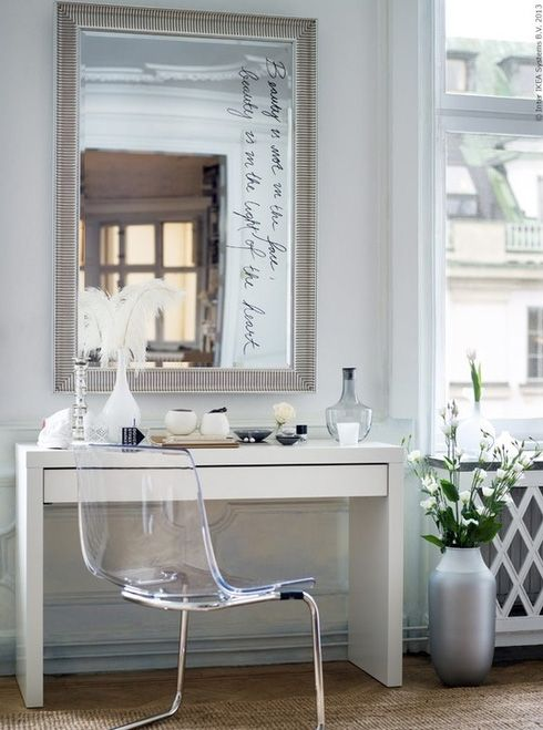 Gorgeous bedroom vanity composed of Ikea Songe Mirror over Ikea Malm Dressing  Table paired with Ikea Tobias Chair  Make up vanity filled with Ikea Salong. 17 Best images about Minimalist   Vanity on Pinterest   Vanities