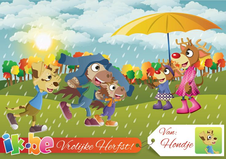 HERFST, KAARTJE, HERFSTKAARTJE: De blaadjes aan de bomen krijgen de mooiste kleuren: rood, geel, groen en bruin.  Het is herfst, dus tijd om in de plassen te springen, te rollen tussen de herfstbladeren en te zingen in de regen!  Wens je vrienden een Vrolijke Herfst met je eigen ik.be kaartje met jouw foto en naam! (http://spelletjes.ik.be/kaartje/herfst.html)