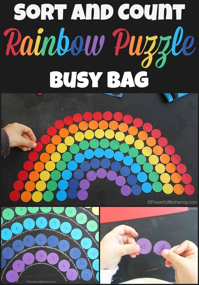 Colorful rainbow busy bag with punched disks. use with numbers and shapes to learn with! from http://Powerfulmothering.com