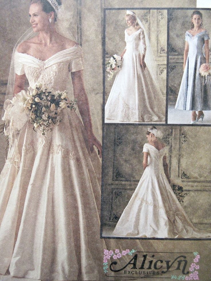 Vintage Mccall S 6951 Sewing Pattern Wedding Dress 1990s Bust 40 Bridal Gown Alicyn Off Shoulder