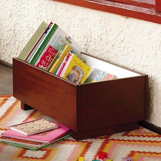 Kids Book Bins: Walnut Book Storage Bin In Bookcases U0026 Caddies | The Land Of
