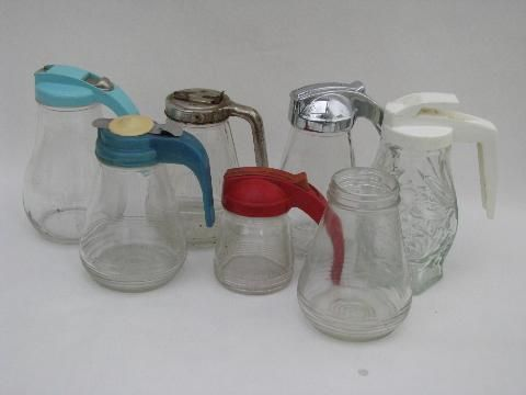 vintage kitchenware lot, collection of kitchen glass syrup pitchers