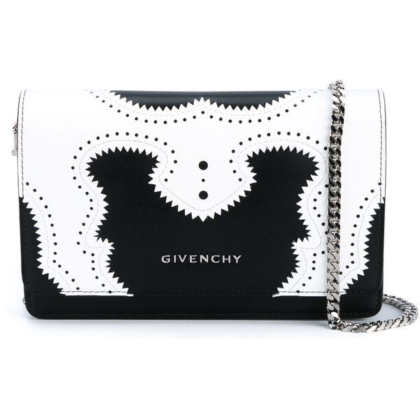 Givenchy Pandora Brogue Leather Chain Shoulder Bag (3,845 SAR) ❤ liked on Polyvore featuring bags, handbags, shoulder bags, givenchy handbags, leather purse, evening handbags, special occasion handbags and leather handbags