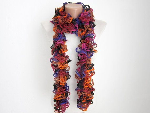 Purple Orange  Knit Scarf  Frilly scarf Ruffled by scarfnurlu