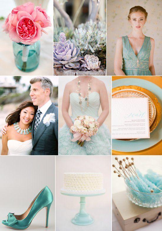 Wedding color palette we love: teal, pink and gold!