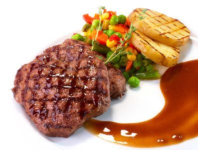 Rib-eye steak with vegetables