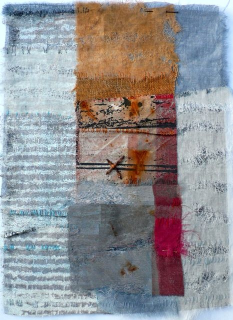 Shelley Rhodes. www.shelleyrhodes.co.uk Layered, frayed, worn.  I like the subtlety of the colours.