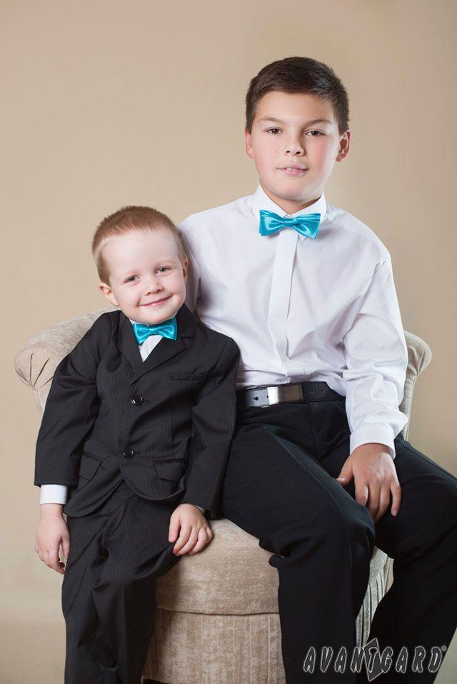 Chlapecká košile AVANTGARD, tyrkysový motýlek AVANTGARD MINI a KLASIK /// Boy shirt AVANTGARD, Turquoise bow tie AVANTGARD MINI and KLASIK
