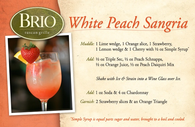 White Peach Sangria is the perfect drink for Spring! It's made with peach nectar, fresh berries and citrus fruits, Peach Schnapps and Tavolo Matto Chardonnay. Served on the rocks.