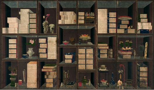 그림 2. <책가도> 이응록, 1864~1871년, 종이에 채색, 8폭 병풍, 203.8*289.5cm, 미국 샌프란시스코 아시아미술관
