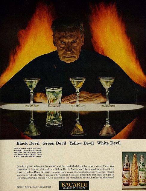 1963 Liquor Ad, Bacardi Rum, Devil