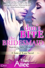 Don't Bite the Bridesmaid By Tiffany Allee - Anxious to make her ex-fiancé jealous, Alice invites her sexy neighbor Noah as a fake date to her sister's cruise ship wedding. But Noah has a secret — he drinks human blood! Can Alice's vampire plus-one keep his cool?