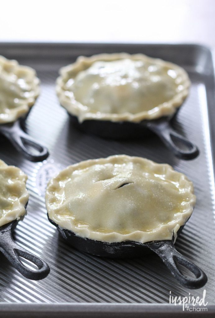 Mini Blueberry Pies, made in mini cast iron skillets. From Inspired by Charm.