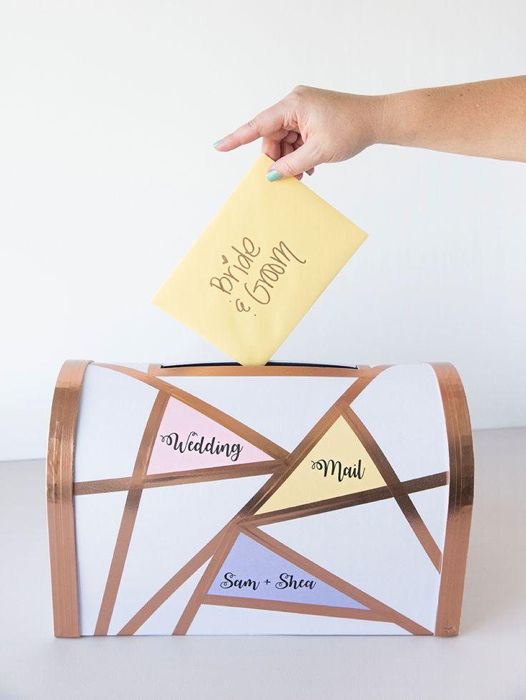 How cute is this diy geometric wedding card mailbox?!