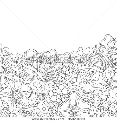 Abstract Zentangle Style Invitation Card Wavy Doodle Frame Design For Vector Decorative Element