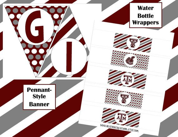 Texas A Aggie Printable General Party Pack by NeatnikCreations, $15.00