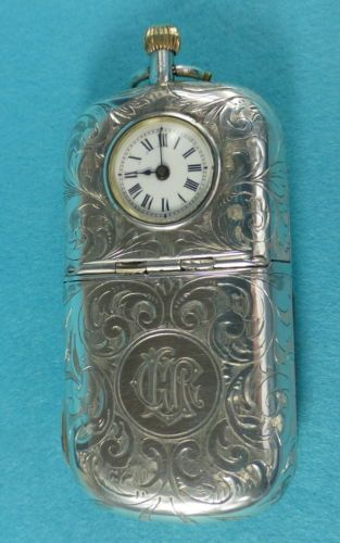 Very-Rare-Sterling-Silver-Combination-Vesta-Case-Sovereign-Case-Clock-1903…