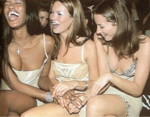Naomi, Kate and Christy all rockin' the classic 90s slip dress look.