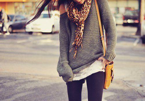 .Big Sweaters, Fashion, Style, Slouchy Sweaters, Over Sweaters, Animal Prints, Fall Outfit, Oversized Sweaters, Sweater Scarf