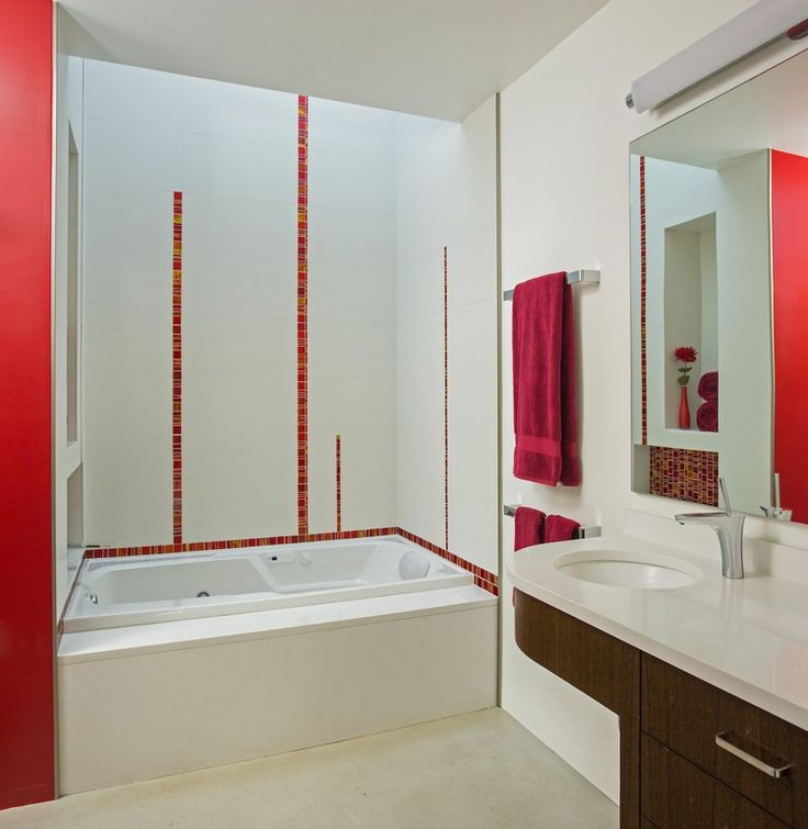 red tile stripes   White Tile BathroomsBathroom. 33 best red me images on Pinterest   Red tiles  Bathroom ideas and