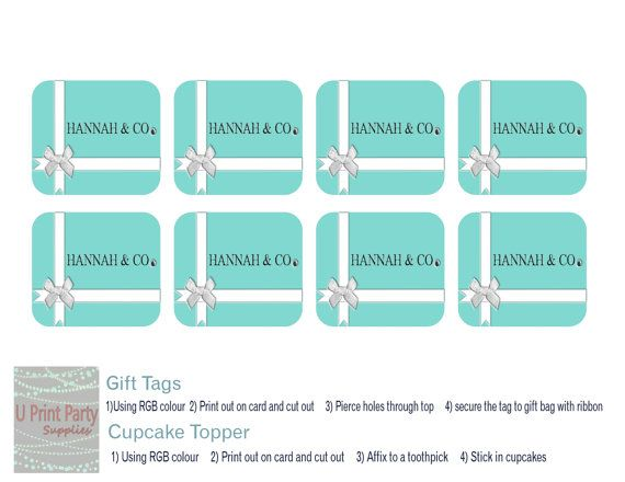 Breakfast At Tiffany's Gift Tags and Cupcake Toppers by U Print Party Supplies #breakfastattiffanys #gifttags #thankyoutags #cupcaketoppers