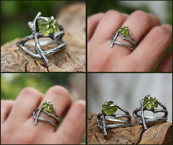 Rough peridot statement branch ring raw gemstone by aifosjewels