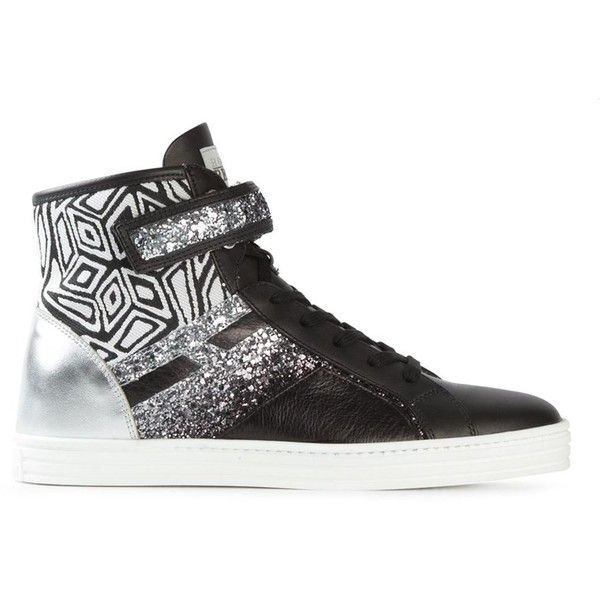 Hogan Rebel Panelled Glitter Hi-Top Sneakers (1.015 DKK) ❤ liked on Polyvore featuring shoes, sneakers, black, high top trainers, high top shoes, black high tops, black hi top sneakers and black glitter shoes