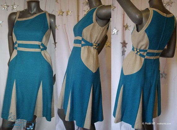 robe trapèze style rétro avant gardiste col asymétrique soie