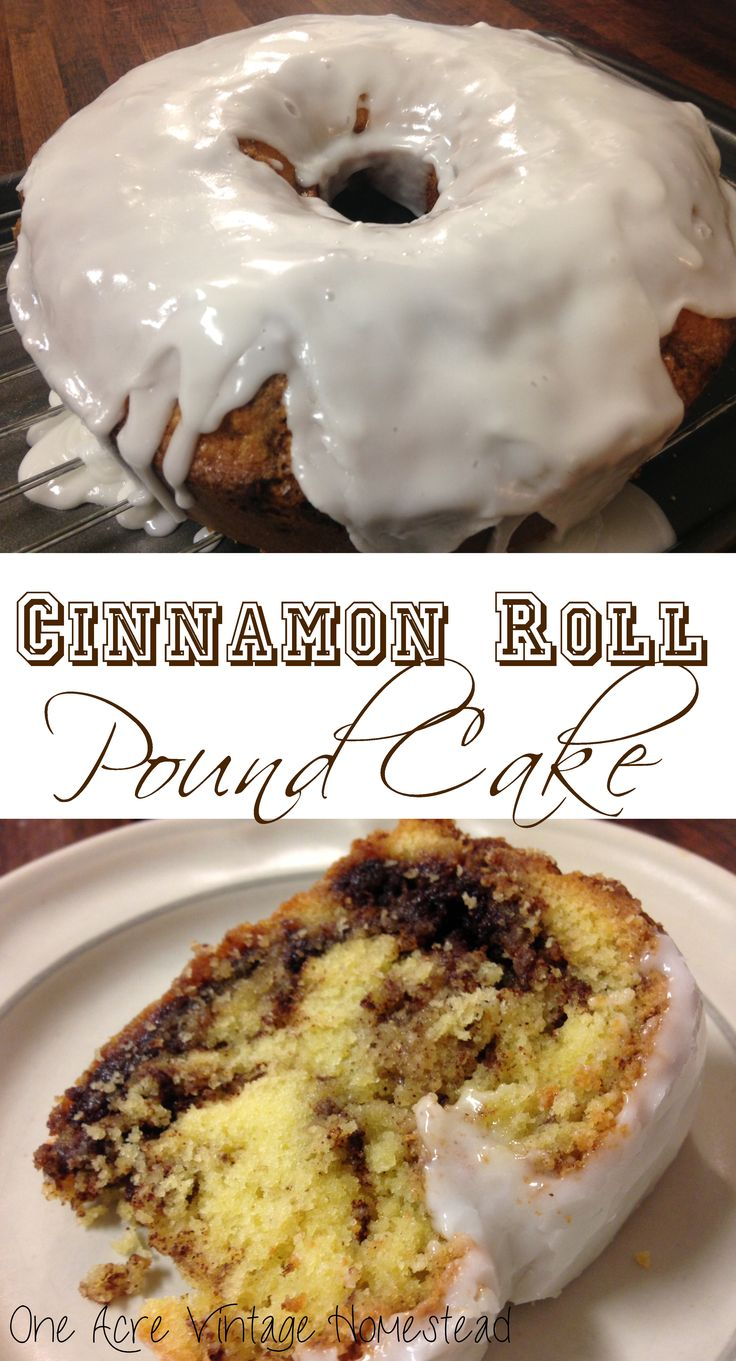 Cinnamon Roll Pound Cake from One Acre Vintage Homestead #poundcake #cinnamonrollpoundcake