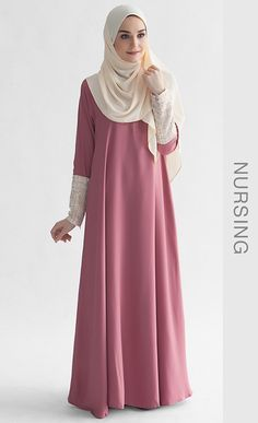 She's beautiful ! -- La Chanelia 2.0 Abaya in Mauvewood Pink   FashionValet