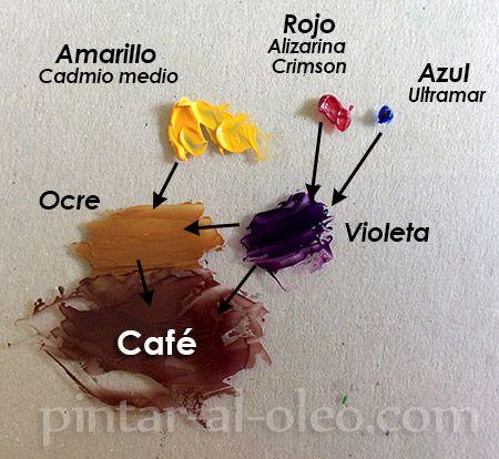 Hacer color cafe conpinturas violeta y amarillo