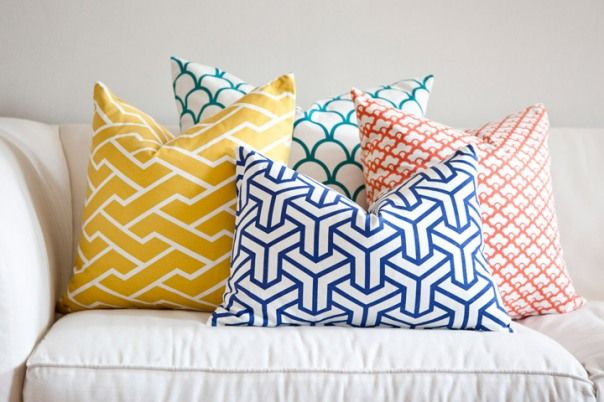 Beautiful geometric and chinoiserie scatter cushions by Caitlin Wilson Textiles