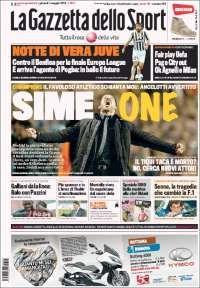 Portada de La Gazzetta dello Sport: Sime ONE