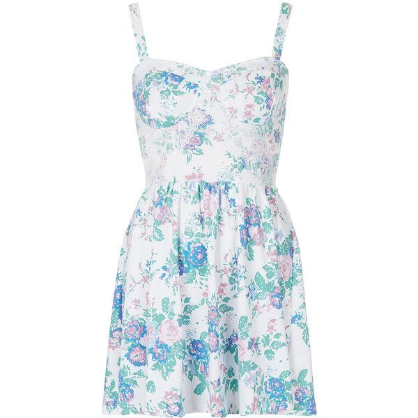 TOPSHOP Petite Floral Corset Tunic ($30) ❤ liked on Polyvore featuring dresses, vestidos, tops, short dresses, multi, petite, topshop, floral corset, corset mini dress and petite dresses