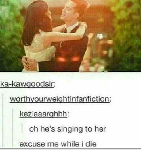 Yeah, 'The end of all things' was actually Brendon's wedding vows to Sarah which is probably what he singing to her